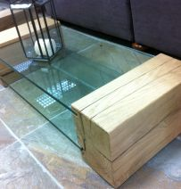 Glass and oak railway sleeper table