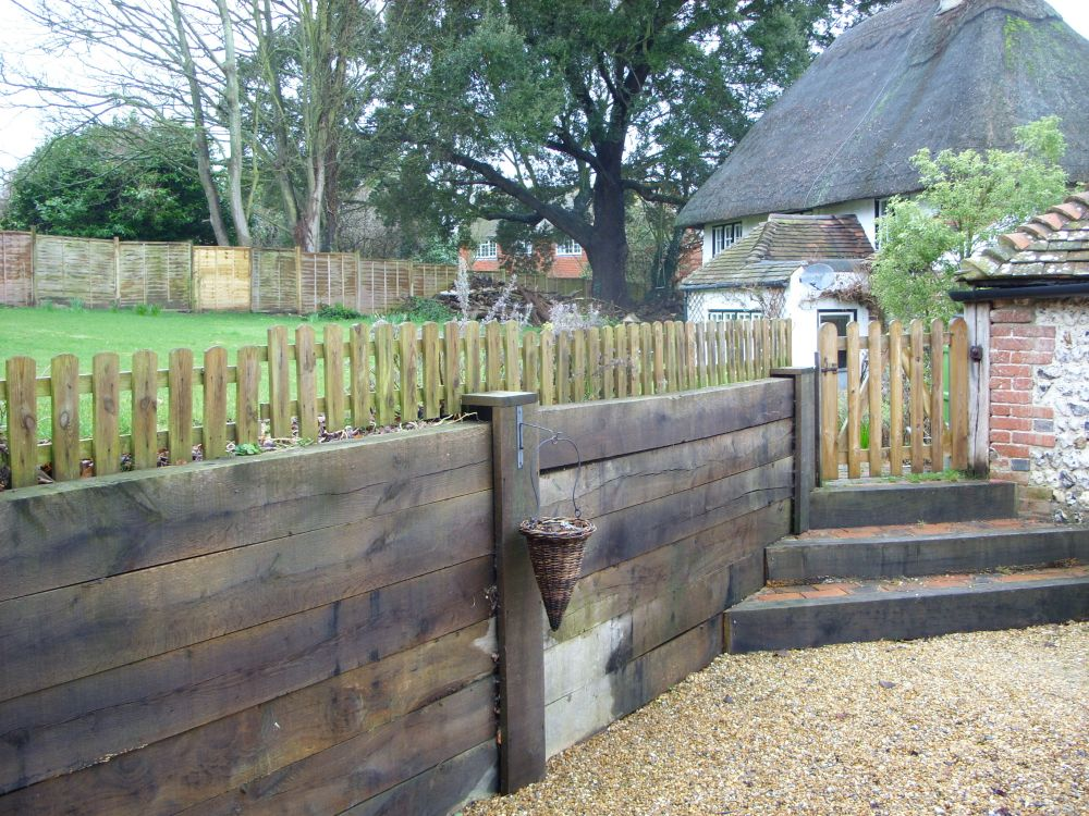Steps Amp Retaining Wall From New Oak Railway Sleepers