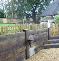 Cottage steps & retaining wall from new oak railway sleepers