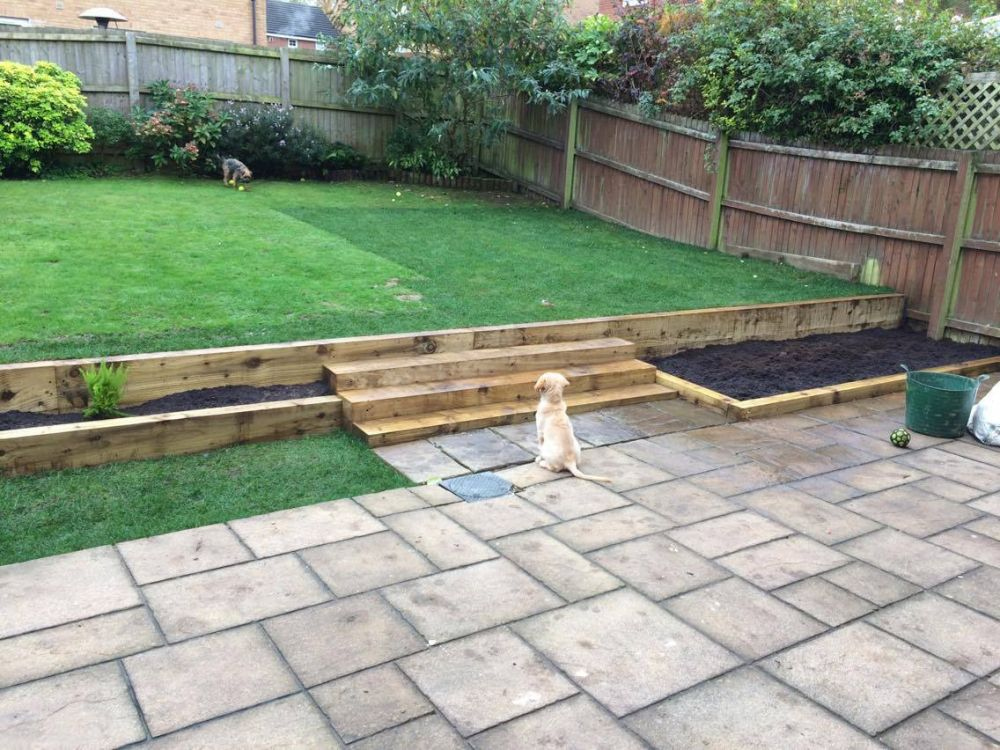 Christopher Wyatt's (& Puppy) new railway sleeper steps and walls