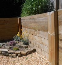 Graham's retaining wall from new pine railway sleepers