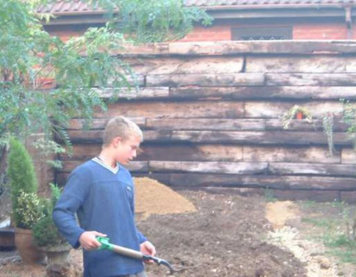 Nick's railway sleeper wall