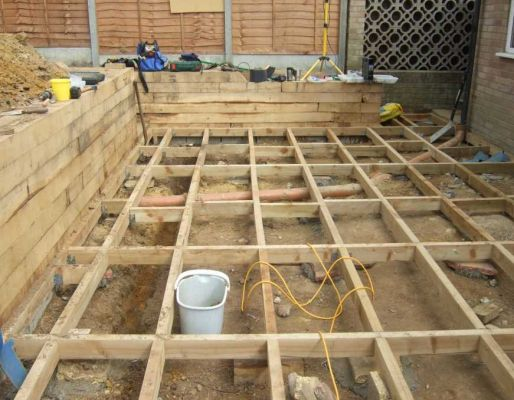 Decking projects with railway sleepers for Decking framework timber