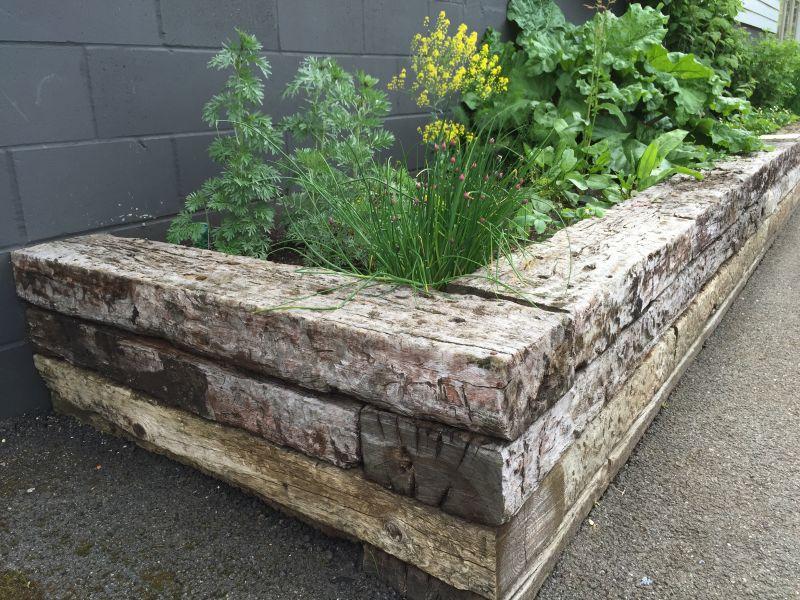 Norfolk lavender railway sleeper raised beds for Sleeper garden bed designs