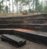 Norwegian amphitheatre and seating from used Jarrah railway sleepers