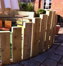 Harvester patio with railway sleeper walls & raised beds