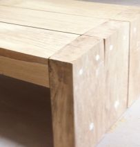 Jess & Boot's coffee table from new oak railway sleepers