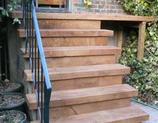 Oliver's flight of steps with new railway sleepers