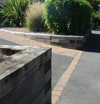 Open Gardens secret retaining walls from railway sleepers