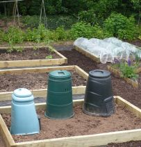 Debbie's raised beds with new eco pine sleepers