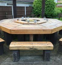 Paul Fryer 's railway sleeper pub furniture