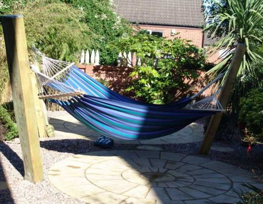 Paula & Andy's fence & hammock with railway sleepers