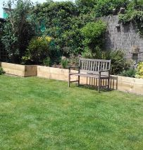 Paul Cooper's garden retaining wall with new railway sleepers