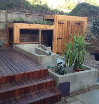 Penney Poyzer's urban permaculture with railway sleepers
