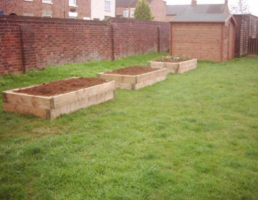 Peter Davis's school raised beds with railway sleepers
