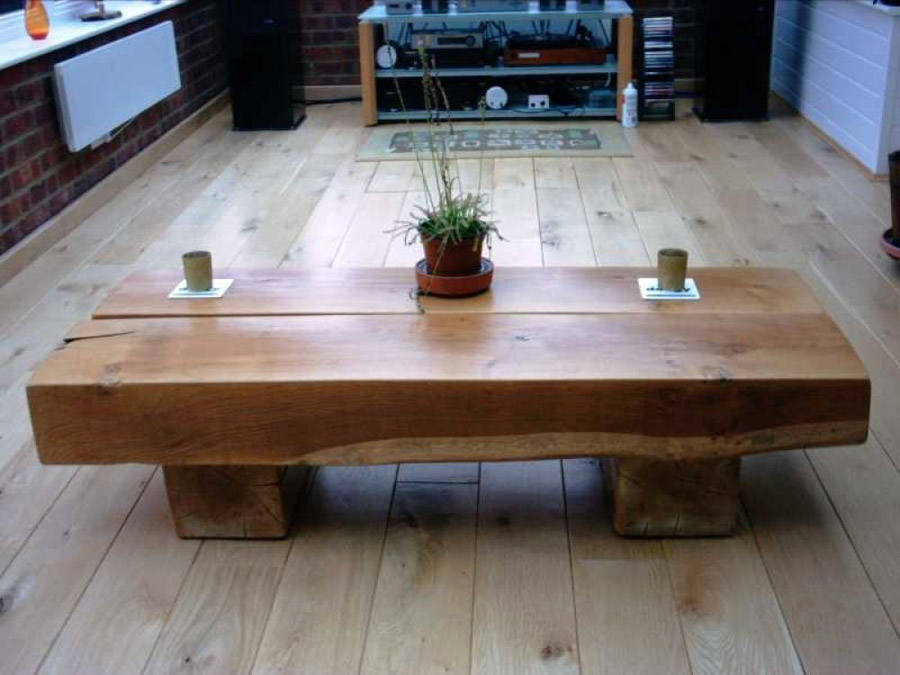 coffee table made out of sleepers - coffee addicts