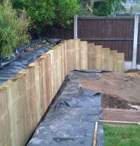 Rhodes new pine railway sleeper wall