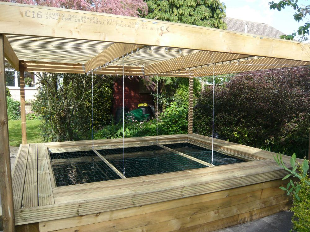 Raised railway sleeper pond for Garden pond design using sleepers