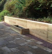 Stephen's Guernsey retaining wall with profiled railway sleepers