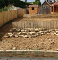REM Landscapes design with new oak railway sleepers