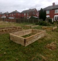 Gypsy Brook community garden railway sleeper raised beds