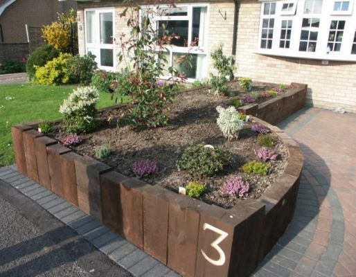John Roper's raised bed made with railway sleepers