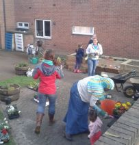 Arkwright Meadows Community raised beds with railway sleepers