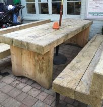 The Golden Fleece's new railway sleeper table & chairs