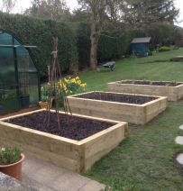David Elliott's terraced new pine railway sleeper raised beds