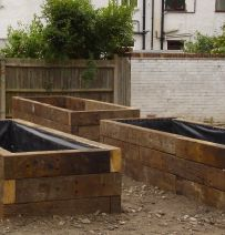 BTCV Conservation Volunteer project with used railway sleepers