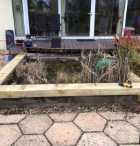 Foxcroft pond renovation project - replacing railway sleeper edging