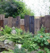 Nottingham open gardens railway sleeper fence