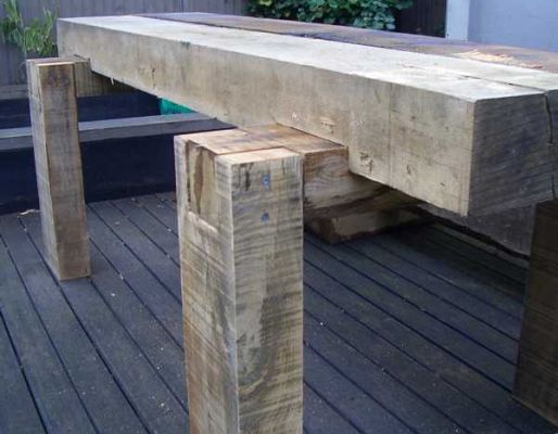 Richard Well's 'rustic chic' table with railway sleepers