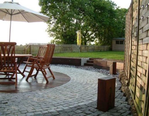 Rob's African azobe railway sleeper patio