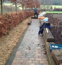 Rob's never ending paths & edging with used oak railway sleepers