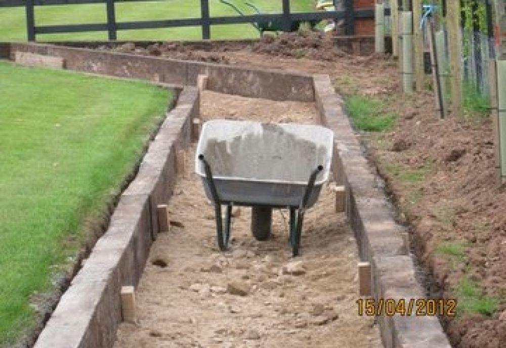 Garden Borders Using Sleepers : Rob s never ending paths edging with used oak railway sleepers