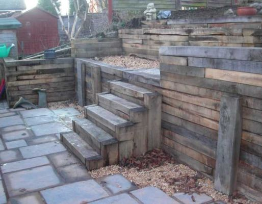 Roger's 'holding back' with railway sleepers