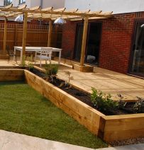 Roman's new railway sleeper raised beds & patio