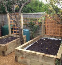 Ross's raised vegetable beds with new pine railway sleepers