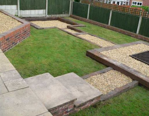 Simon Cunliffe's garden design with railway sleepers
