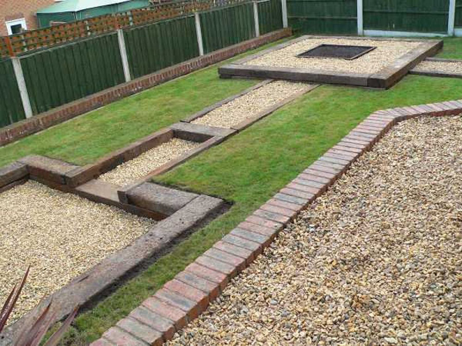 Used British railway sleepers patio