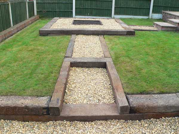 garden design with railway sleepers