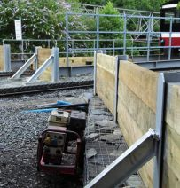RSJs, steel H beams & railway sleeper walls