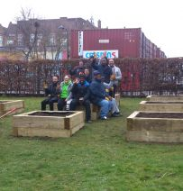 St Mary's Secret Garden - raised beds from new railway sleepers