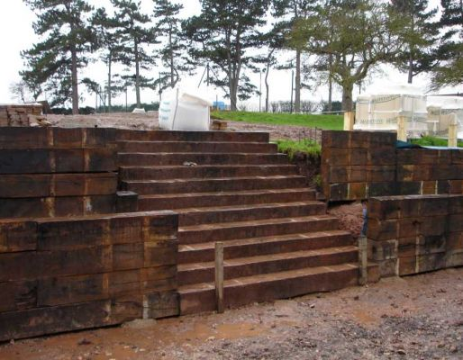 Stately railway sleeper retaining wall