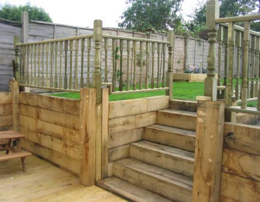 Stuart Humphrey's garden project with railway sleepers