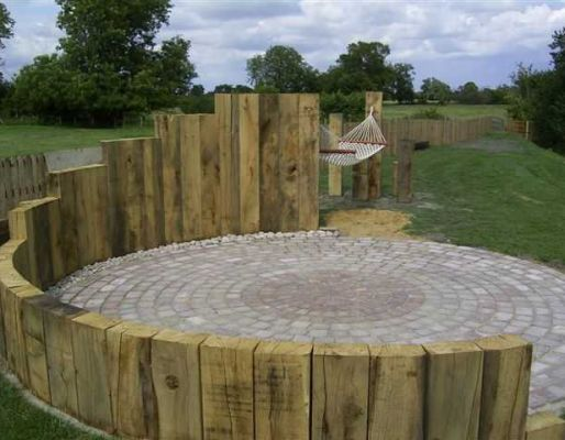 Stuart Brooke's landscaping with oak railway sleepers