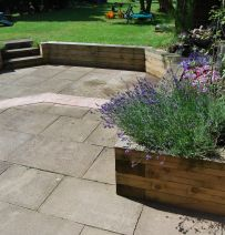 Stuart's raised beds & retaining walls with new softwood railway sleepers
