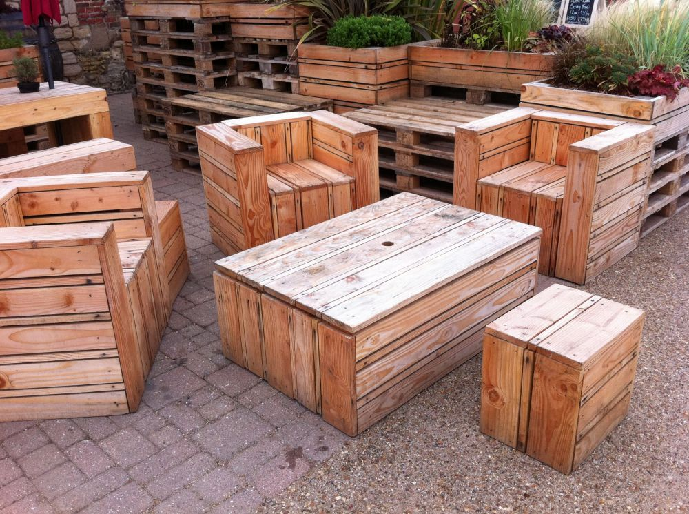 Tables & chairs made out of pallets, at the quay side in Kings Lynn ...