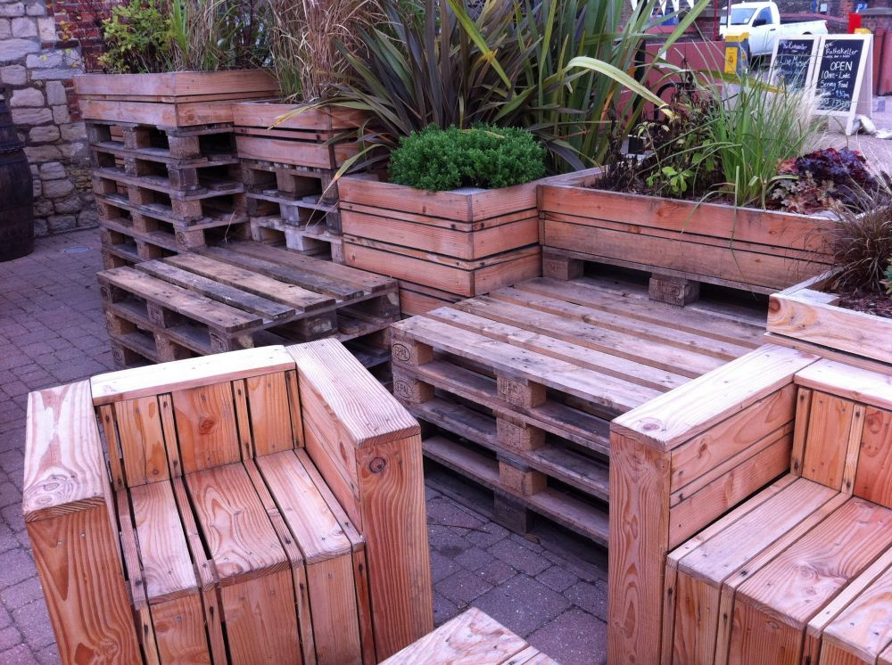 tables chairs made out of pallets at the quay side in kings lynn norfolk. Black Bedroom Furniture Sets. Home Design Ideas